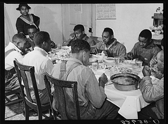 Marion Post Wolcott photographs the black men at the table with the same respect she gave the white men in the earlier picture.